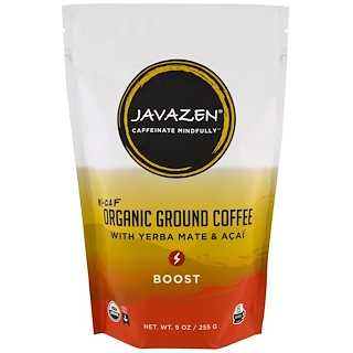 Javazen, Hi-Caf, Organic Ground Coffee with Yerba Mate & Acai, Boost, 9 oz (255 g)