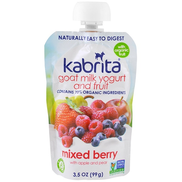Kabrita, Goat Milk Yogurt and Fruit, Mixed Berry with Apple and Pear, 3.5 oz (99 g) (Discontinued Item)