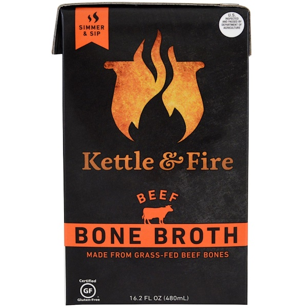 Kettle & Fire, Bone Broth, Beef, 16.2 fl oz (480 ml) (Discontinued Item)