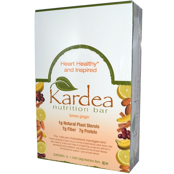 Kardea Nutrition, Bar, Lemon Ginger, 15 Bars, 1.34 oz (38 g) Each (Discontinued Item)