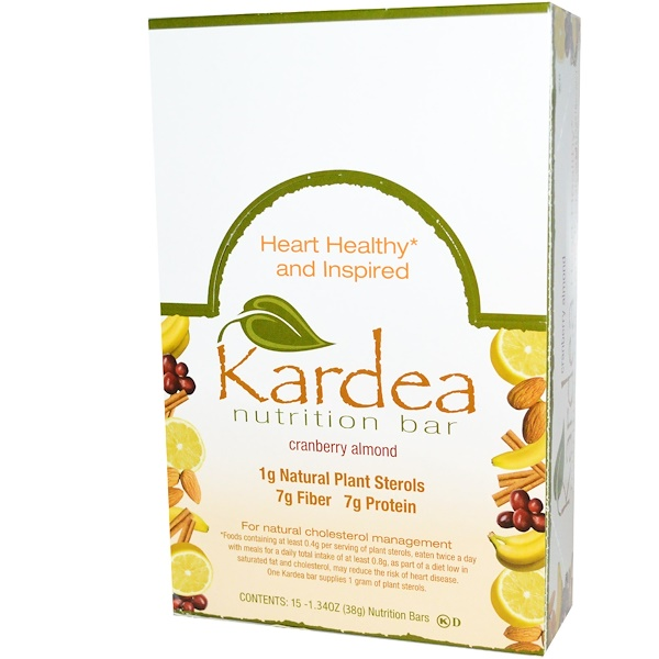 Kardea Nutrition, Bar, Cranberry Almond, 15 Bars, 1.34 oz (38 g) Each (Discontinued Item)