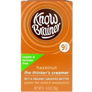 Know Brainer, Lactose & Casein Free Creamer, Hazelnut, 9 Pack, 0.9 oz (26 g) Each