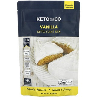 Keto and Co, Keto Cake Mix, Vanilla, 8.7 oz (249 g)