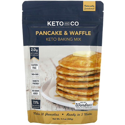 Keto and Co Pancake & Waffle, Keto Baking Mix, 9.3 oz (265 g)