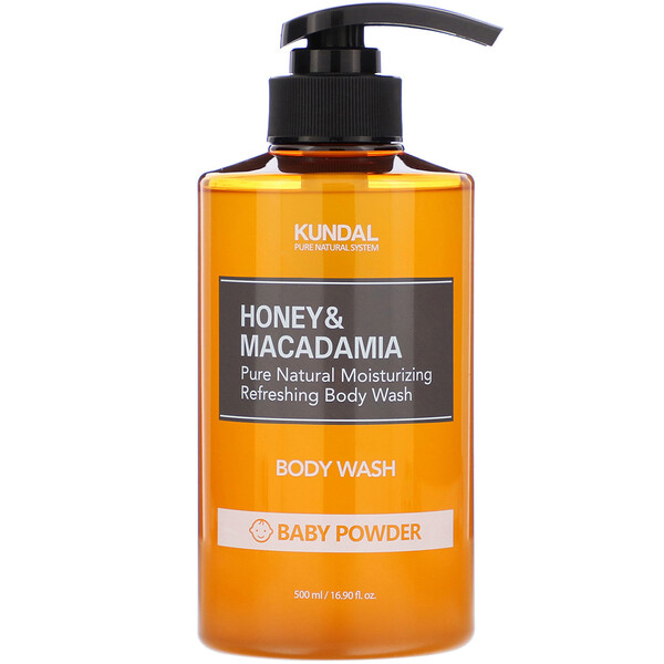 Honey & Macadamia, Body Wash, Baby Powder, 16.90 fl oz (500 ml)