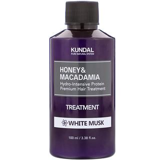 Kundal, العسل والمكاديميا، علاج الشعر، المسك الأبيض، 3.38 أونصة سائلة (100 مل)