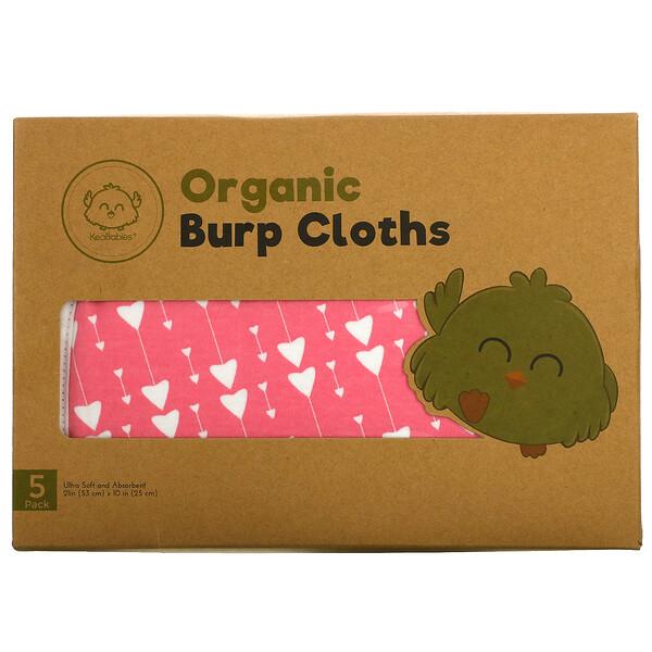 Organic Burp Cloths, Pink Dreams,  5 Pack