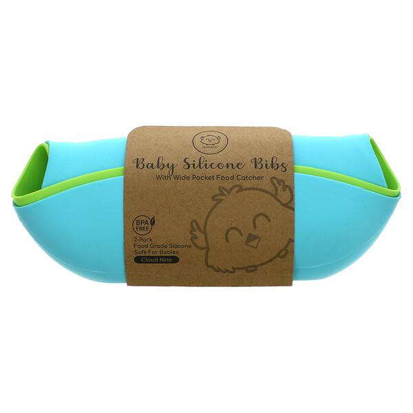 KeaBabies, Baby Silicone Bibs, Cloud Nine, 2 Pack
