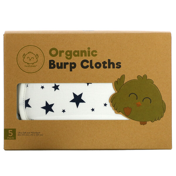 KeaBabies, Organic Burp Cloths, Adventurer, 5 Pack