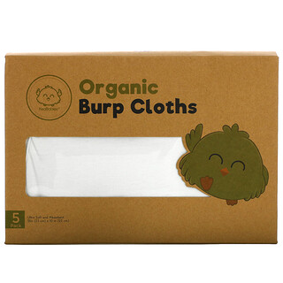 KeaBabies, Organic Burp Cloths, Soft White, 5 Pack