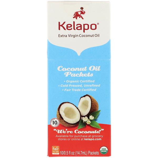 Kelapo, Paquetes de aceite de coco, 10 paquetes, 0.5 fl oz (14.7 ml) c/u (Discontinued Item)