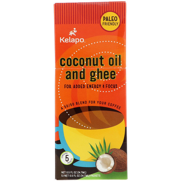 Kelapo, Coconut Oil and Ghee, 5 Packets, 0.5 fl oz (14.7 ml) Each (Discontinued Item)
