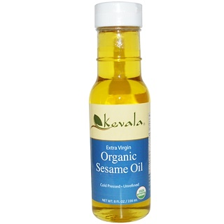 Kevala, エクストラバージン・オーガニック・セサミオイル 8 液量オンス (236 ml)