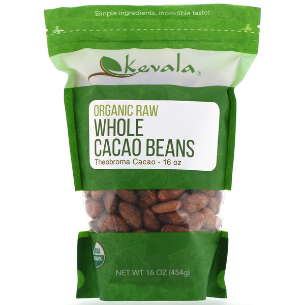 Kevala, Organic Raw Whole Cacao Beans, 16 oz (454 g)