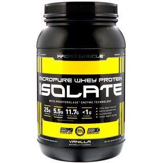 Kaged Muscle, MicroPure Whey Protein Isolate, Vanilla, 3 lbs (1.36 kg)