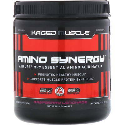 Kaged Muscle Amino Synergy, вкус «Малиновый лимонад», 191г (6, 74унции)  - купить со скидкой