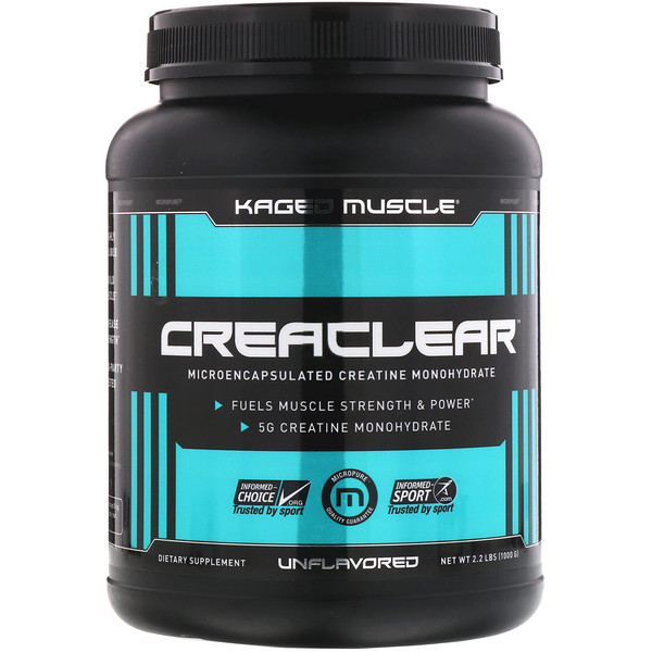 Kaged Muscle, Creaclear、無味、2.2ポンド (1000 g)