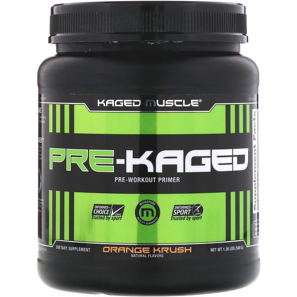 Kaged Muscle, Pre-Kaged, Pre-Workout Primer, Orange Krush, 1.30 lb (588 g)