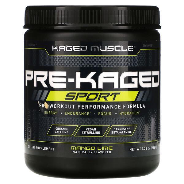 PRE-KAGED Sport, Pre-Workout Performance Formula, Mango Lime, 9.38 oz (266 g)