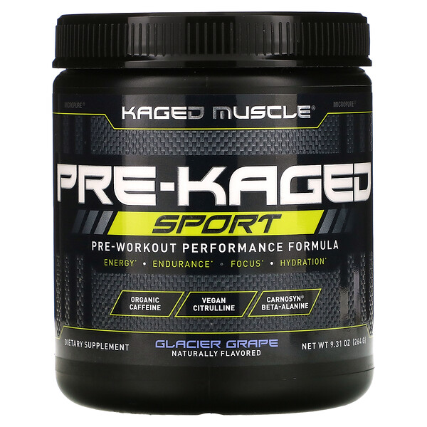 PRE-KAGED Sport, Pre-Workout Performance Formula, Glacier Grape, 9.31 oz (264 g)