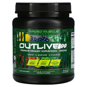 Kaged Muscle, Outlive 100, Premium Organic Superfoods + Greens, Apple Cinnamon, 18 oz (510 g)