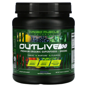 Kaged Muscle, Outlive 100, Premium Organic Superfoods + Greens, Berry, 18 oz (510 g)
