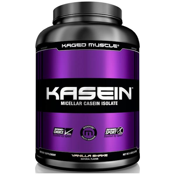 Kaged Muscle, Kasein, Micellar Casein Isolate, Vanilla Shake, 4 lbs (1.8 kg) (Discontinued Item)