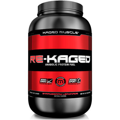 Kaged Muscle Re-Kaged, питание для физической активности с анаболическим белком, со вкусом клубничного лимонада, 2,07 фунта (940 г)
