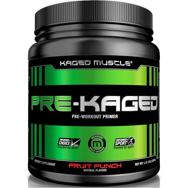Kaged Muscle, Pre-Kaged, Pre-Workout Primer, Fruit Punch, 1.41 lbs (640 g)