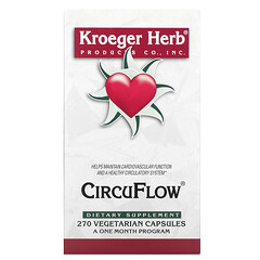 Kroeger Herb Co, CircuFlow 心臟支持補充劑,270 粒素食膠囊