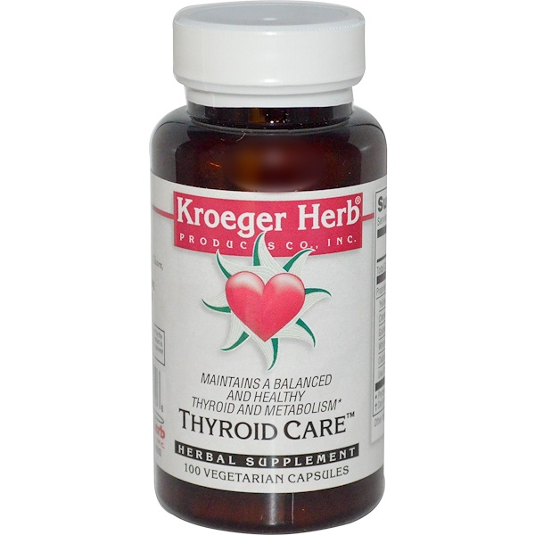 Kroeger Herb Co, Thyroid Care, 100 Veggie Caps (Discontinued Item)