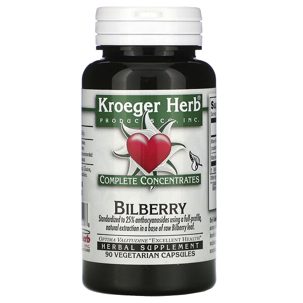 Kroeger Herb Co, Bilberry, 90 Vegetarian Capsules