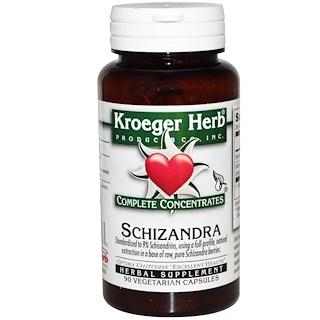 Kroeger Herb Co, Concentrados Completos, Schizandra, 90 Cápsulas Vegetales