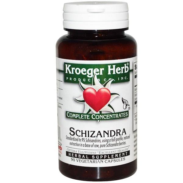 Kroeger Herb Co, Complete Concentrates, Schizandra, 90 Veggie Caps
