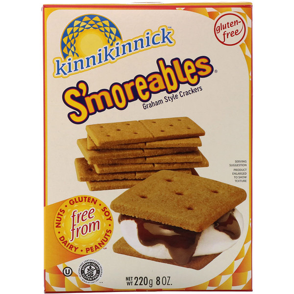 Kinnikinnick Foods, S'moreables, Graham Style Crackers, 8 oz (220 g) (Discontinued Item)