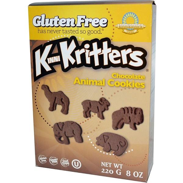 Kinnikinnick Foods, KinniKritters, шоколадное печенье в форме животных, 8 унций (220 г)