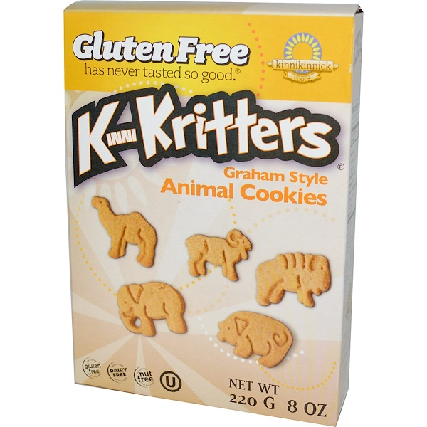 Kinnikinnick Foods, KinniKritters, Graham Style Animal Cookies, 8 oz (220 g)
