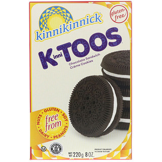 Kinnikinnick Foods, KinniToos, Chocolate Sandwich Cream Cookies, 8 oz (220 g)