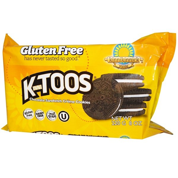 Kinnikinnick Foods, KinniToos, Chocolate Sandwich Cream Cookies, 8 oz (220 g)
