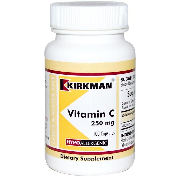 Kirkman Labs, Vitamin C, 250 mg, 100 Capsules