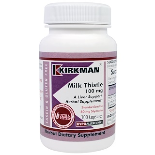 Kirkman Labs, Milk Thistle, 100 mg, 100 Capsules