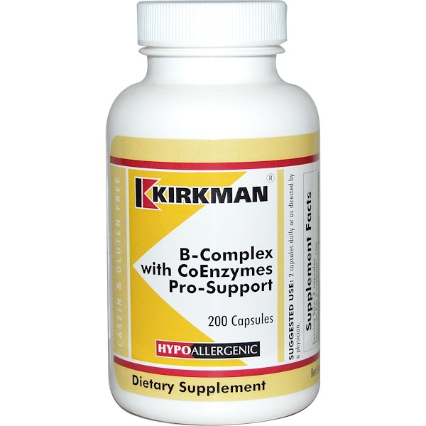 Kirkman Labs, B-Complex with CoEnzymes Pro-Support, 200 Capsules