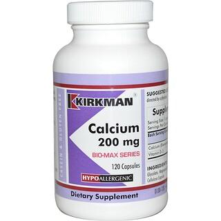 Kirkman Labs, Bio-Max Series, Calcium, 200 mg, 120 Capsules