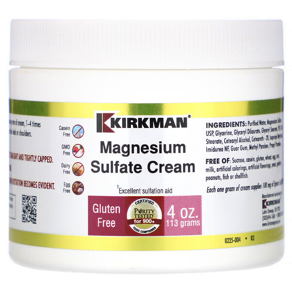 Kirkman Labs, Epsom Salt Cream, 4 oz (113 gm)