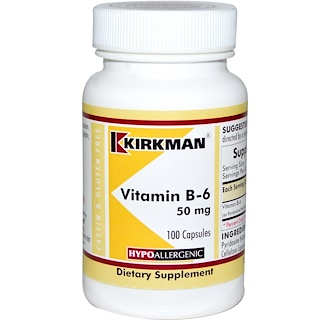 Kirkman Labs, Vitamin B-6, 50 mg, 100 Capsules