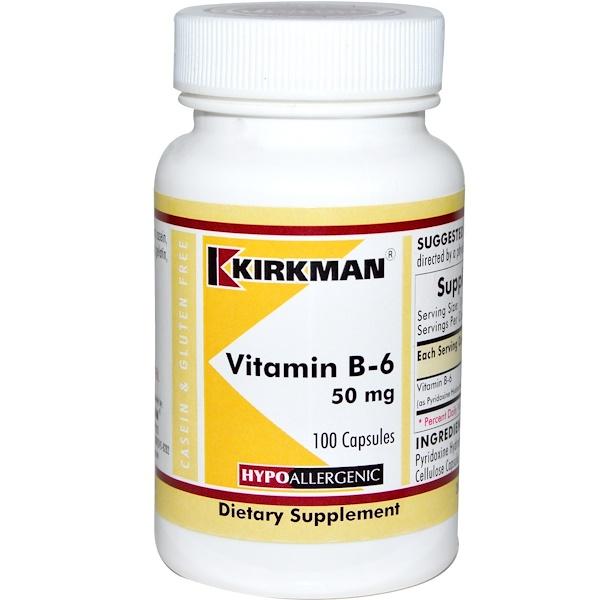 Kirkman Labs, فيتامين ب-6، 50 ملغم، 100 كبسولة (Discontinued Item)