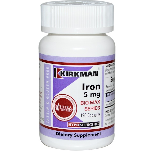 Kirkman Labs, Iron Bio-Max Series, 5 mg, 120 Cápsulas (Discontinued Item)