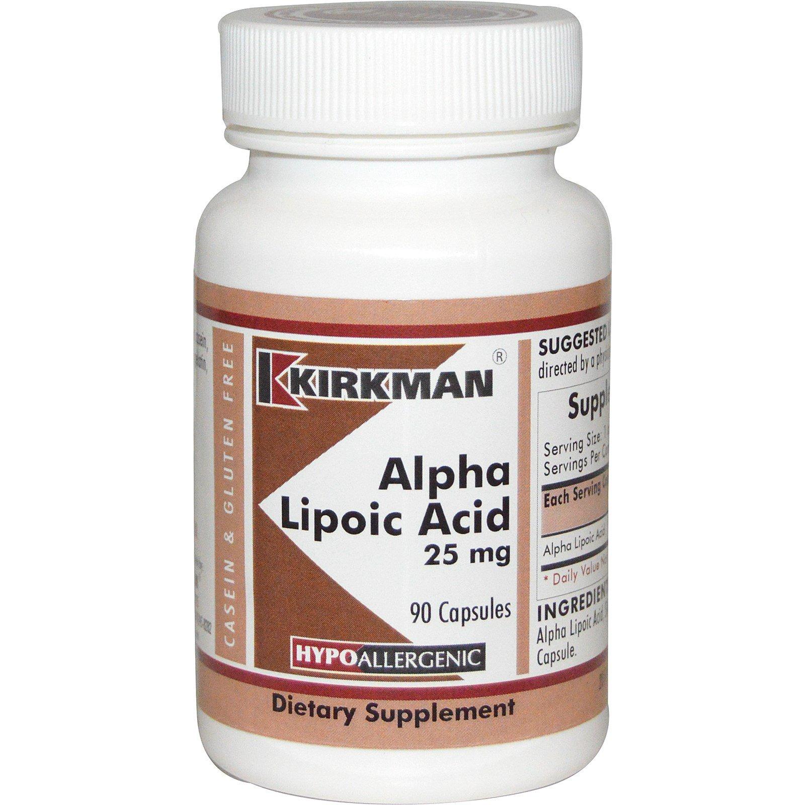 Kirkman Labs, Альфа-липоевая кислота, 25 мг, 90 капсул