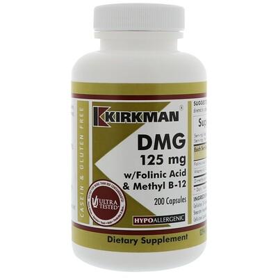 цена на DMG with Folinic Acid & Methyl B-12, 125 mg, 200 Capsules