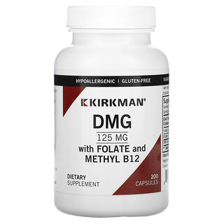 Kirkman Labs, DMG with Folate and Methyl B12, 125 mg, 200 Capsules